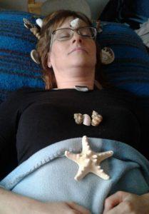 Seashell on face